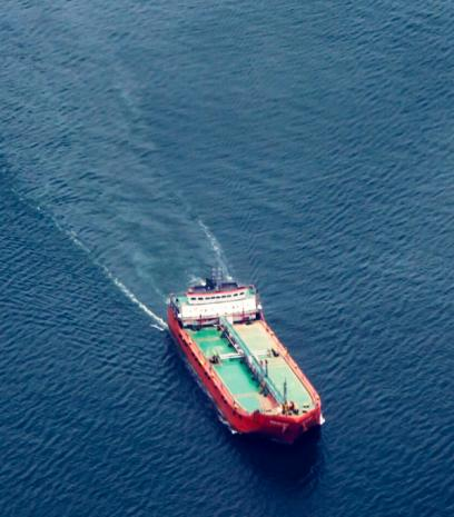 Gas vessel on ocean